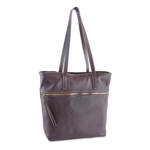 Zilla Italian Leather Tote in Burgundy - exclusively at LUCA Boutique