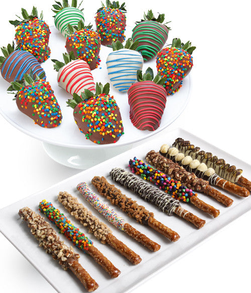 Birthday Chocolate Strawberries & Gourmet Pretzels - 24pc - Chocolate Covered Company®