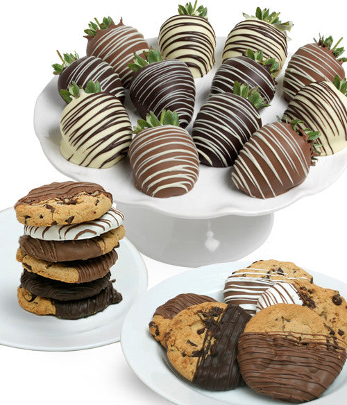 Classic Chocolate Covered Strawberries & Cookies - 24pc - Chocolate Covered Company®