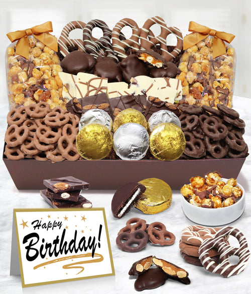 HAPPY BIRTHDAY - Sensational Belgian Chocolate Snack Gift Basket Tray - Chocolate Covered Company®