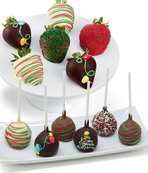Christmas Lights Chocolate Covered Strawberries & Cake Pops - 12pc - Chocolate Covered Company®