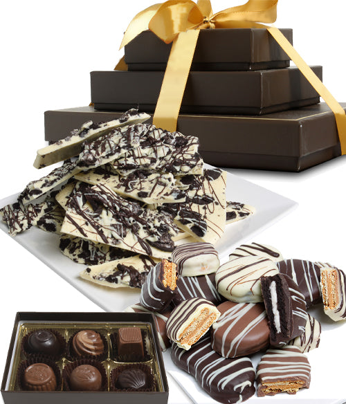 FANCY BELGIAN CHOCOLATE Gourmet Gift Tower (ARTISAN EDITION) - Chocolate Covered Company®