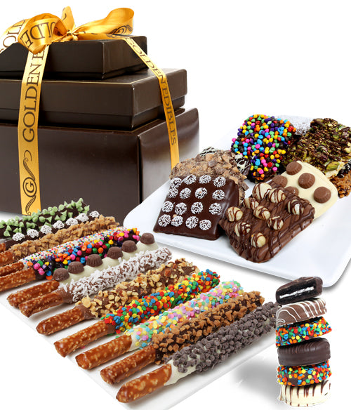 Ultimate Toppings Chocolate Covered Snack Tower