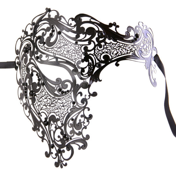 BLACK Series Men's Signature Phantom Of The Opera Half Face Masquerade Mask - Luxury Mask - 1