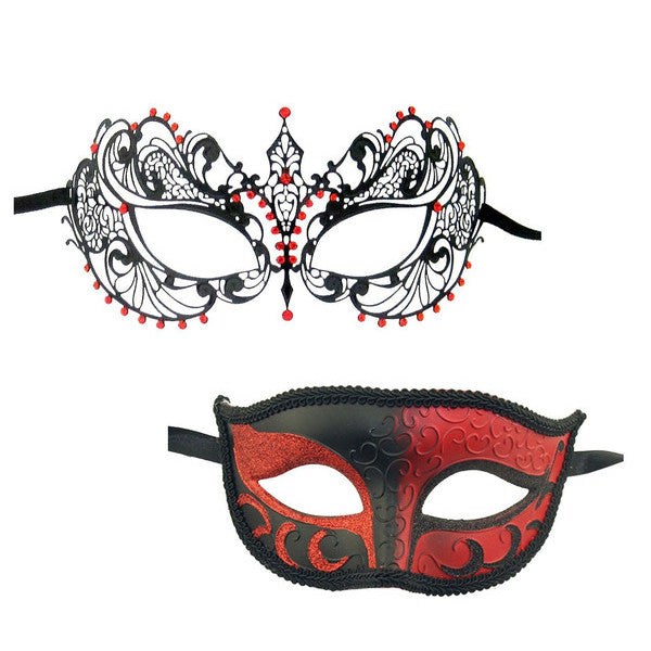 Couple's Laser cut Masquerade Mask Set Black Red Stones - Luxury Mask