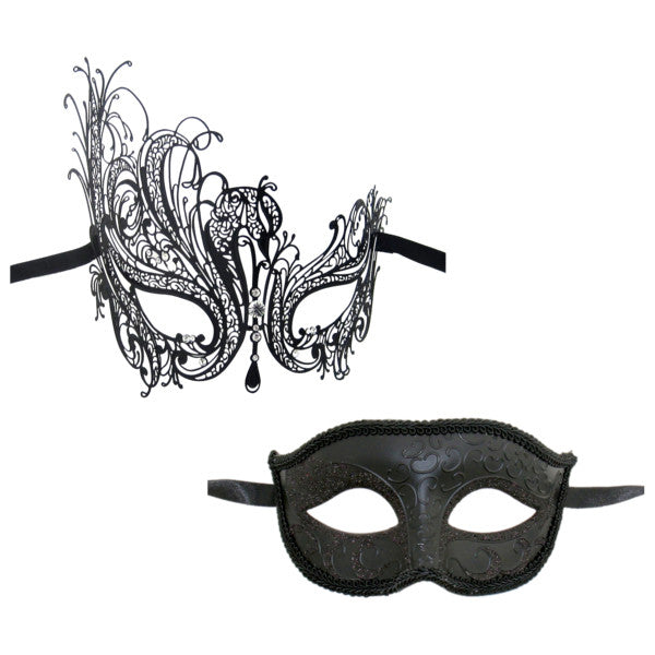 Couple's SWAN Masquerade Mask Set Black Clear Stones - Luxury Mask
