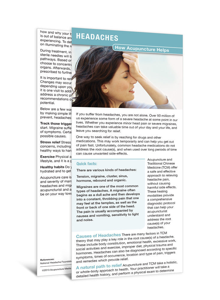 Headaches - Acupuncture Patient Education Cards