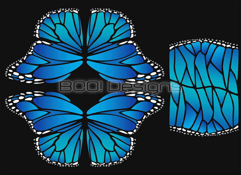Spandex Glitter Butterfly Wings Blue Regular