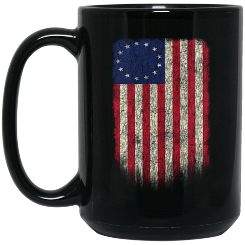 Betsy Ross Flag 13 Colonies Black Mug