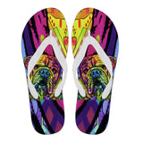Bulldog Design Men's Flip Flops  - Dean Russo Art