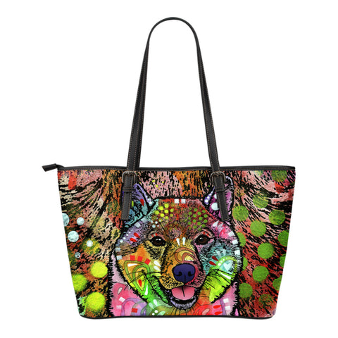 Shiba Inu Small Leather Tote Bags - Dean Russo Art