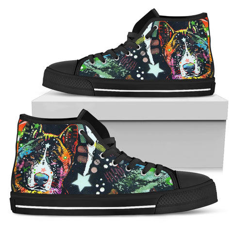 Akita Women's High Top Canvas Shoes - Dean Russo Art