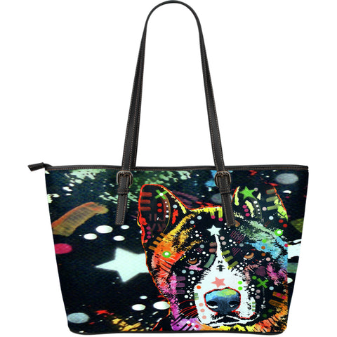 Akita Large Leather Tote Bag - Dean Russo Art