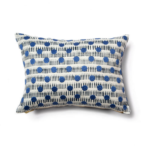 Dot Dash Pillow in Navy/Blue