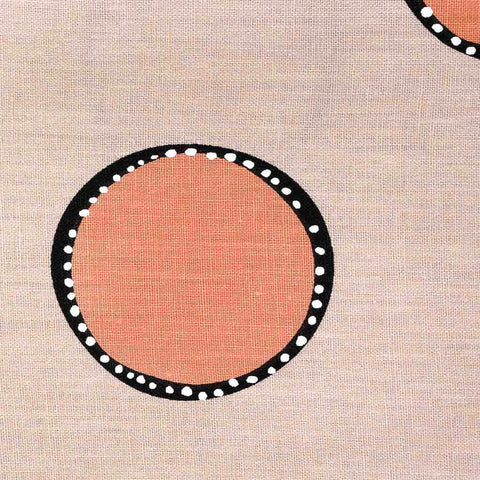 Dotted Circles Fabric in Tan & Tangerine - 3-yards