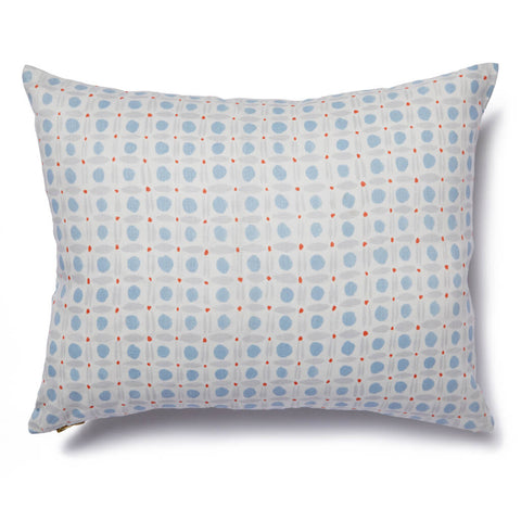 Spotted Grid Pillow in Sky-Tomato