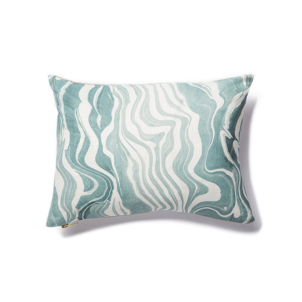 Marbled Stripe Pillow in Lagoon
