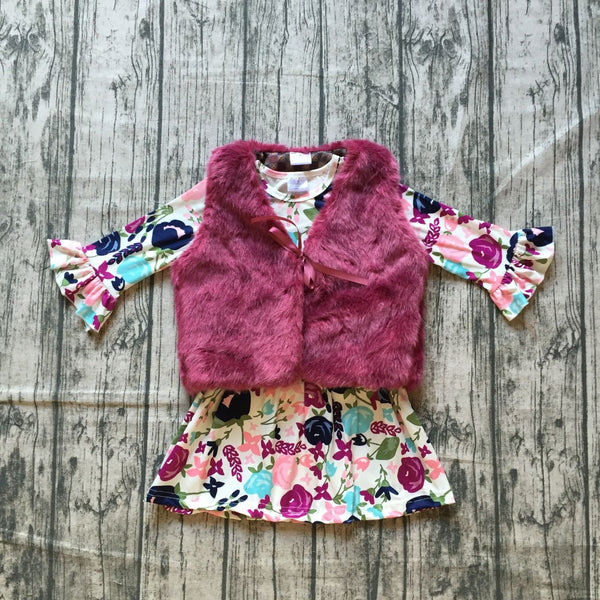 Purple Floral Tunic with Fur Vest Set - In The Limelight