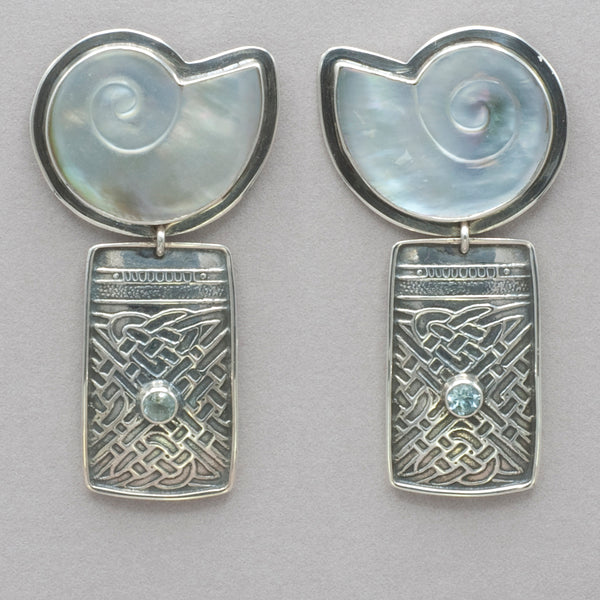 Tabra Mother of Pearl and Blue Topaz Earrings