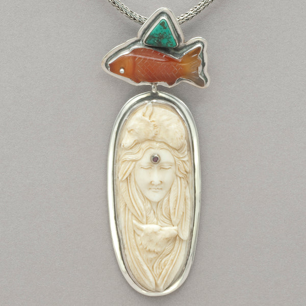 Tabra Carnelian Fish and Bone Wolf Woman Pendant
