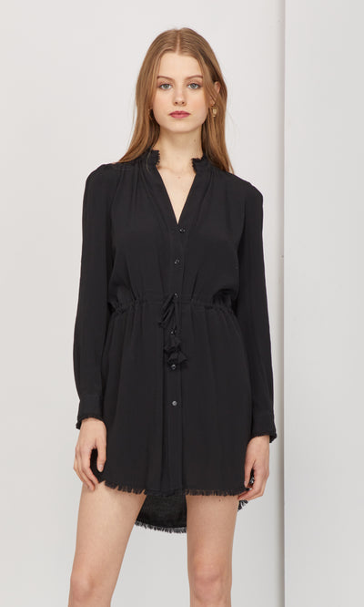 Sachi Frayed Edge Button-Up Dress