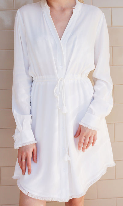 white long sleeve button up dress shirt dress