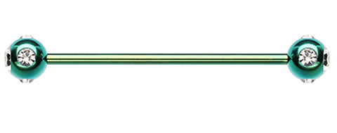 "Colorline PVD Aurora Glass-Gem Ball Industrial Barbell - 16 GA (1.2mm) - Ball Size: 3/16"" (5mm) - Green/Clear - Sold Individually"