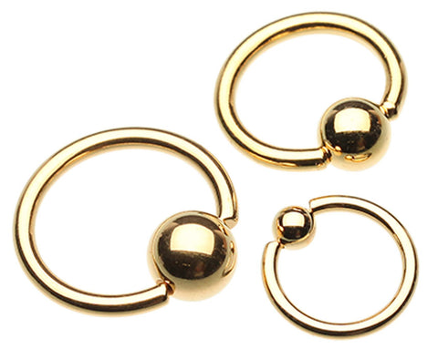 "Gold Plated Captive Bead Ring - 0 GA (8mm) - Ball Size: 1/2"" (12mm) - Sold as a Pair"