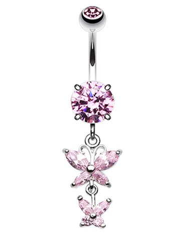 Butterfly Besties Belly Button Ring - 14 GA (1.6mm) - Pink - Sold Individually