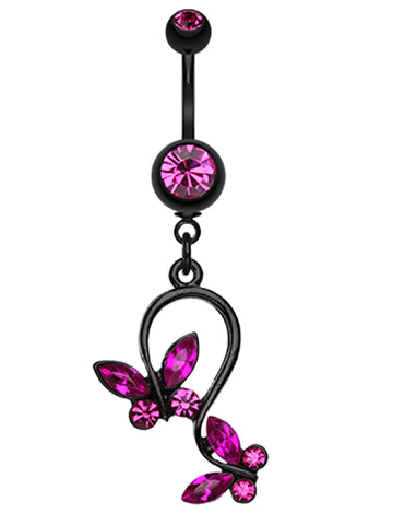 Blackline Butterfly Glass-Gem Loop Belly Button Ring - 14 GA (1.6mm) - Fuchsia - Sold Individually