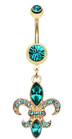 Golden Colored Fleur de Lis Belly Button Ring - 14 GA (1.6mm) - Teal - Sold Individually