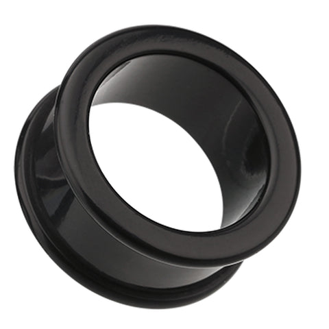 Flexible Silicone Double Flared Ear Gauge Tunnel Plug - 6 GA (4mm) - Black - Sold as a Pair