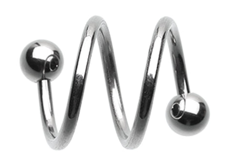 316L Surgical Steel Double Twist Spiral Ring - 16 GA (1.2mm)  - Sold as a Pair