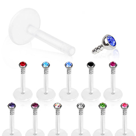 "Internally Threaded BioFlex Labret / Monroe with 2mm Glass/Gem Ball - 16GA Blue L:5/16"" B:2mm - Sold as a Pair"