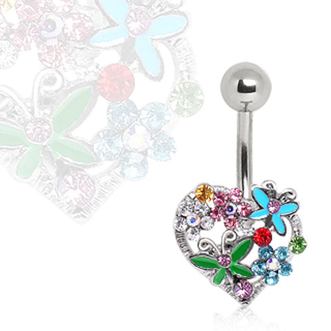 316L Surgical Steel Navel Ring with Flowers & Butterflies on Heart
