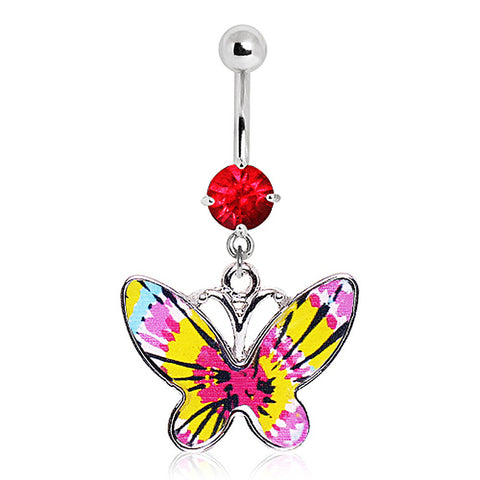 316L Pink Tie-Dye Butterfly Navel Ring