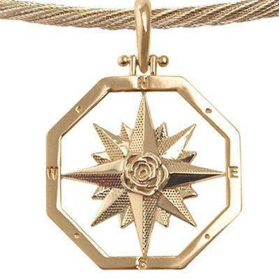 14K Yellow Gold Compass Rose Pendant