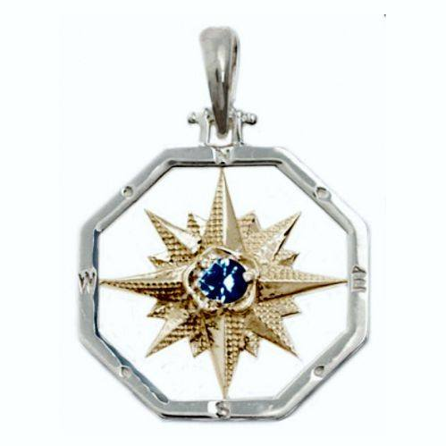 The Touch Compass Rose Pendant with Sapphire.