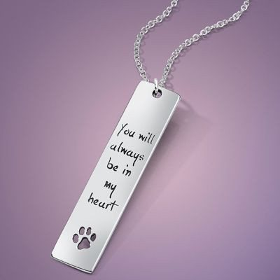 You Will Always Be In My Heart Sterling Silver Pet Necklace