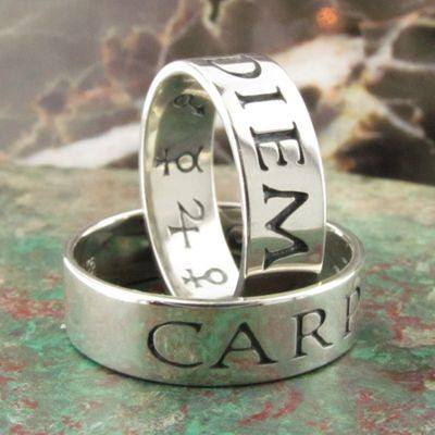 """Carpe Diem Ring"" (seize the day).  Latin poesy rings in silver."