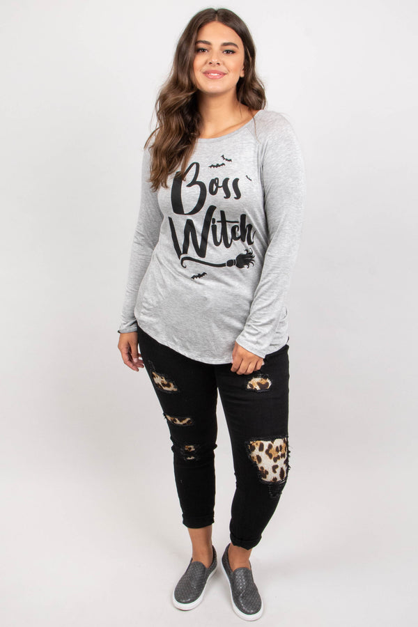 Boss Witch Top, Gray