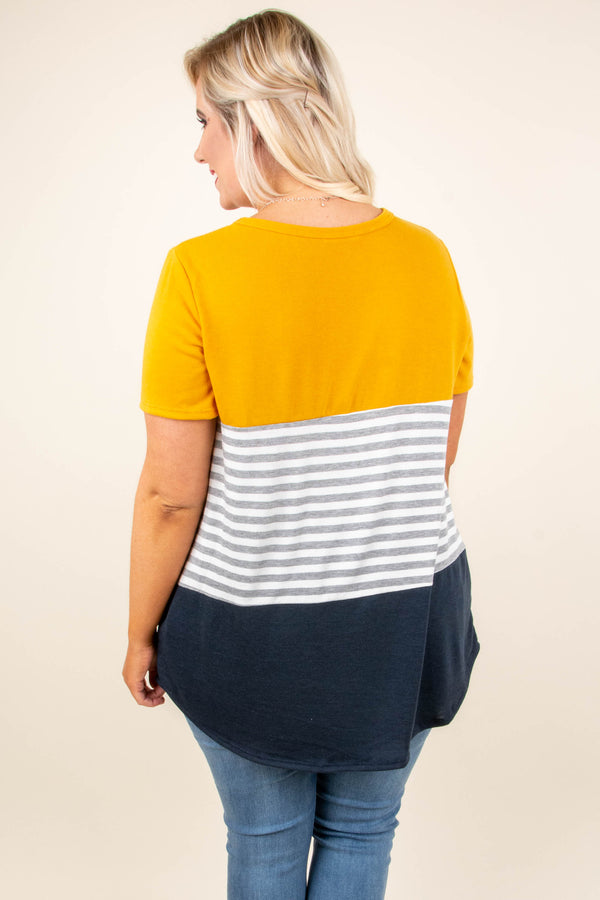 Sweet Intentions Tunic, Mustard-Navy