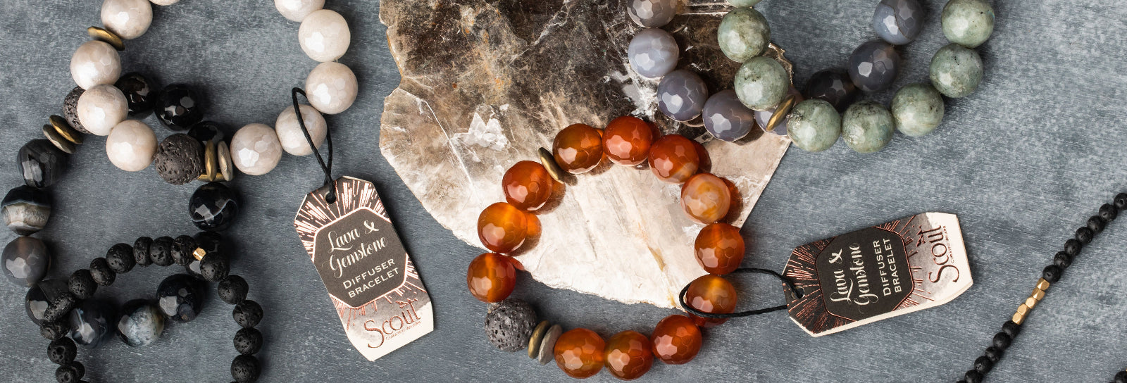 Lava and & Gemstone Diffuser Bracelet Essential Oils Aromatherapy Stacking Bead