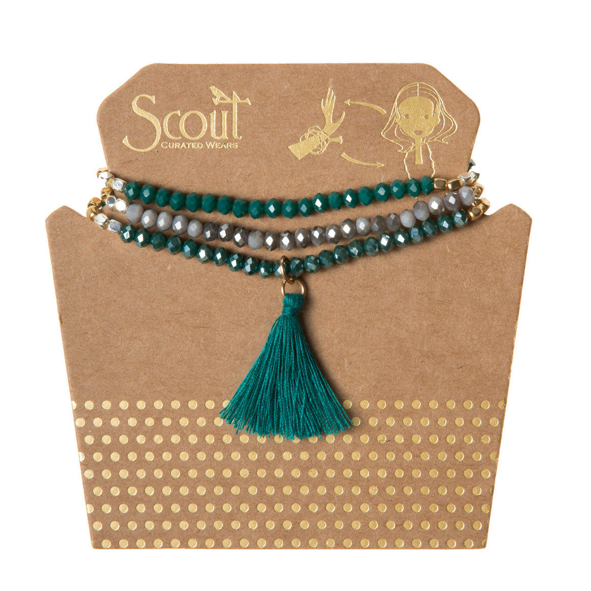 Tassel Wrap : teal multi