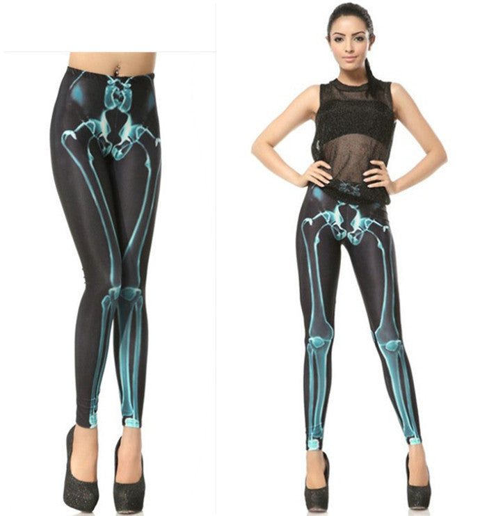 Leggings - Black And Blue Skeleton Leggings - Epic Leggings