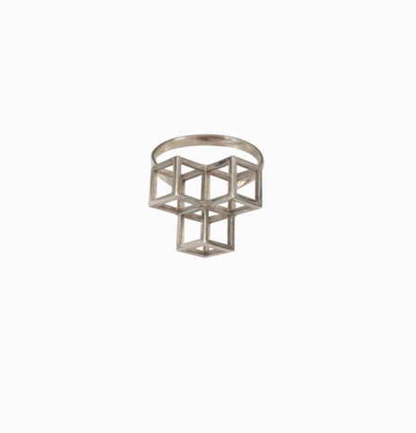 Triple Cube Ring - Silver