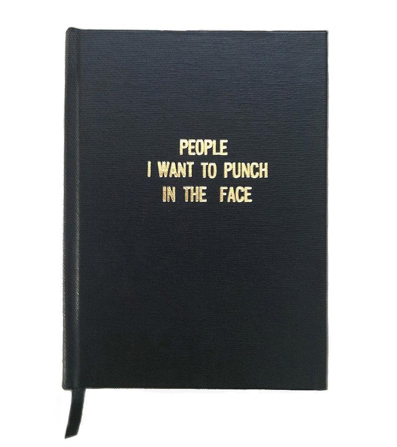 People I Want To Punch In The Face, Handmade, Notebook, Black, Gold,  La Maison Rebelle, gift shop, Los Angeles