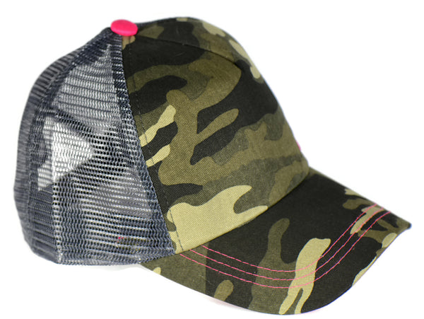 Green Camo Trucker Hat with Pink Details