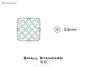 Diagram of Small Standard 32mm acrylic display case base - small image
