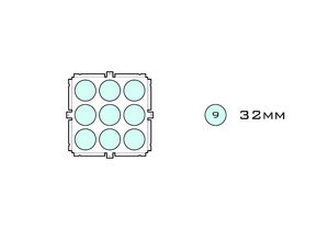 Diagram of Small Standard 32mm acrylic display case base